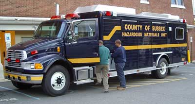 Image of new county HAZMAT truck on the day of its delivery