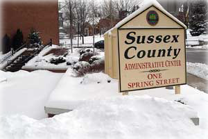 Image of snow covered County Administration Building