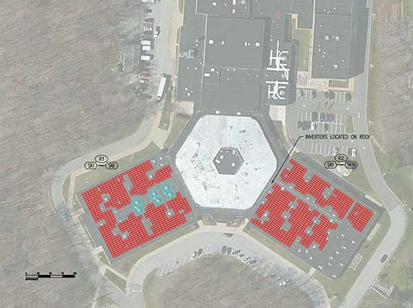 Drawing of proposed solar array at Kittatinny Regional High School
